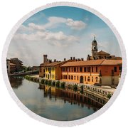 Gaggiano On The Naviglio Grande Canal, Italy Round Beach Towel