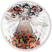 Gaia In Turmoil Round Beach Towel