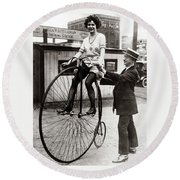 Gal On A Velocipede - Chicago 1922 Round Beach Towel