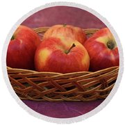 Gala Apple Basket Round Beach Towel