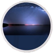 Round Beach Towel featuring the photograph Galactic Lake by Mark Andrew Thomas