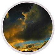 Round Beach Towel featuring the photograph Galactic Sunset by Mark Blauhoefer
