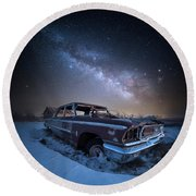 Round Beach Towel featuring the photograph Galaxie 500 by Aaron J Groen