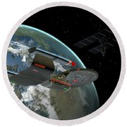 Galaxy Class Star Cruiser Round Beach Towel