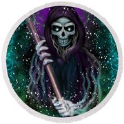 Galaxy Grim Reaper Fantasy Art Round Beach Towel