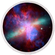 Round Beach Towel featuring the photograph Galaxy M82 by Marco Oliveira