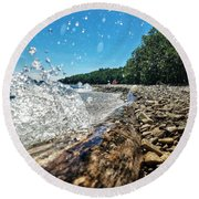 Round Beach Towel featuring the photograph Galaxy Splash by Nikki McInnes