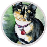 Galaxy The Calico Kitten Round Beach Towel