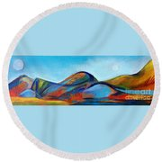 Galaxyscape Round Beach Towel by Elizabeth Fontaine-Barr