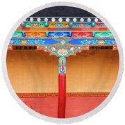 Round Beach Towel featuring the photograph Gallery In A Buddhist Monastery by Alexey Stiop