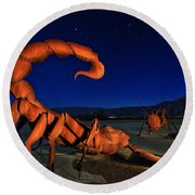 Galleta Meadows Estate Sculptures Borrego Springs Round Beach Towel by Sam Antonio