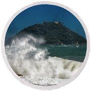 Gallinara Island Seastorm - Mareggiata All'isola Gallinara Round Beach Towel
