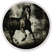 Galloping Horse Artwork Round Beach Towel