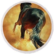 Galloping Horse In Fire Dust Round Beach Towel