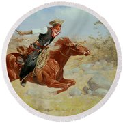 Galloping Horseman Round Beach Towel by Frederic Remington