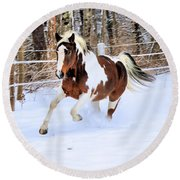Galloping In The Snow Round Beach Towel by Elizabeth Dow