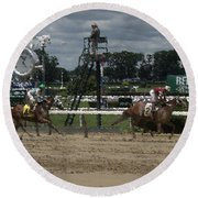 Round Beach Towel featuring the digital art Galloping Out Painting by  Newwwman