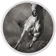 Galloping White Horse In Dust Round Beach Towel
