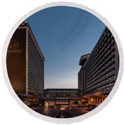 Round Beach Towel featuring the photograph Galt House Hotel And Suites by Randy Scherkenbach
