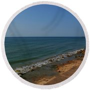 Round Beach Towel featuring the photograph Galveston Beach At The Seawall by Tikvah's Hope