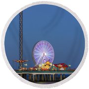 Galveston Pier  Round Beach Towel