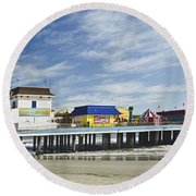 Galveston Pleasure Pier Round Beach Towel