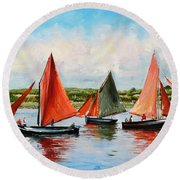 Galway Hookers Round Beach Towel by Conor McGuire