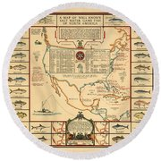Game Fishing Chart Of North America - Game Fish Varieties - Illustrated Map For Anglers Round Beach Towel