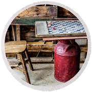 Game Of Checkers Round Beach Towel by M G Whittingham