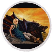 Game Of Thrones Painting Round Beach Towel