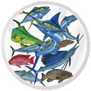 Gamefish Collage Round Beach Towel