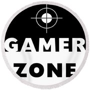Round Beach Towel featuring the mixed media Gamer Zone- Art By Linda Woods by Linda Woods