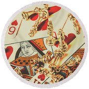 Games Of Love Round Beach Towel