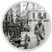 Gamla Stan Round Beach Towel by Marius Sipa