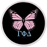 Gamma Phi Delta Classy Butterfly  Round Beach Towel