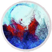 Round Beach Towel featuring the painting Gamma Ray Light by Lisa Kaiser