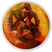 Ganesha Hindu God Asian Art Round Beach Towel
