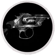 Round Beach Towel featuring the mixed media Gangster Gun by Daniel Hagerman