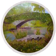 Gapstow Bridge Central Park Round Beach Towel