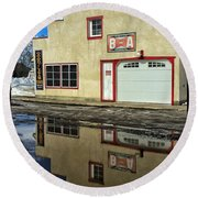 Garage Reflection Round Beach Towel