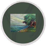 Round Beach Towel featuring the painting Garda Lake -lago Garda by Walter Casaravilla