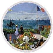 Garden At Sainte Adresse By Claude Monet Round Beach Towel