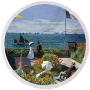 Garden At Sainte Adresse By Claude Monet Round Beach Towel