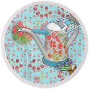 Round Beach Towel featuring the mixed media Garden Blessings by Nancy Lee Moran