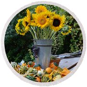 Garden Bounty In Yellow And Green Round Beach Towel