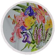 Round Beach Towel featuring the painting Garden Bouquet by Beverley Harper Tinsley