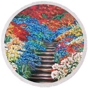 Red White And Blue Garden Cascade.               Flying Lamb Productions  Round Beach Towel