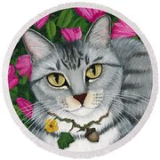 Round Beach Towel featuring the painting Garden Cat - Silver Tabby Cat Azaleas by Carrie Hawks