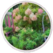 Round Beach Towel featuring the photograph Garden Chairs by Larry Bishop