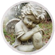 Spiritual Angel Garden Cherub Round Beach Towel by Belinda Lee
